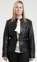 Womens Black Military Leather Jacket Cheryl